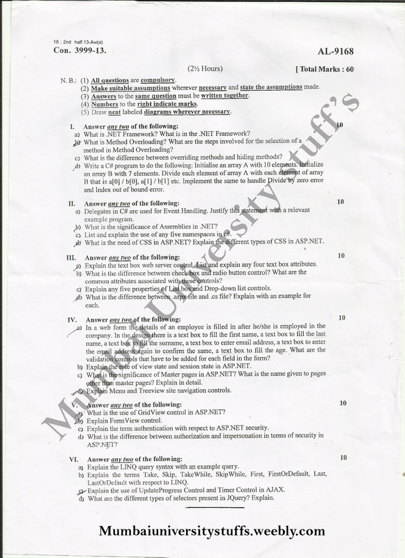 Mumbai University B sc-IT, B com Question Papers